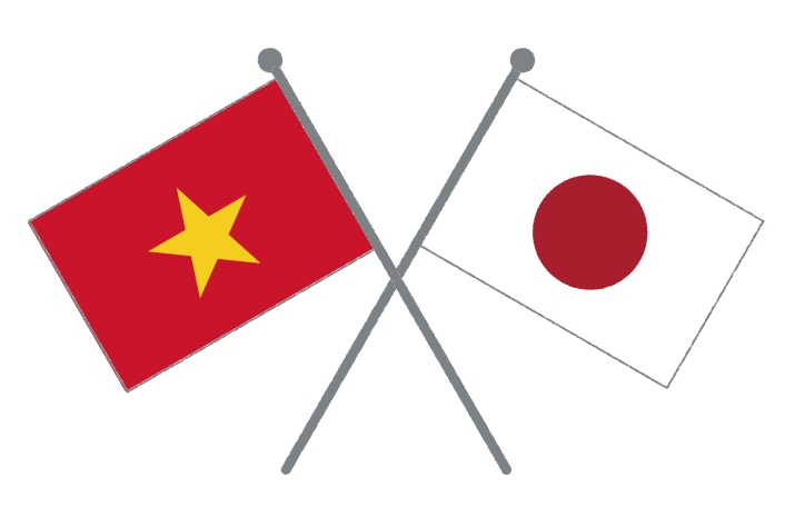 flags of Japan and Vietnum